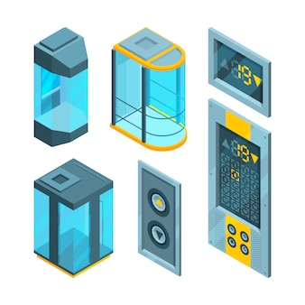 Isometric  set  glass elevators with steel buttons