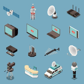 Isometric set of icons with various telecommunication equipment and devices isolated
