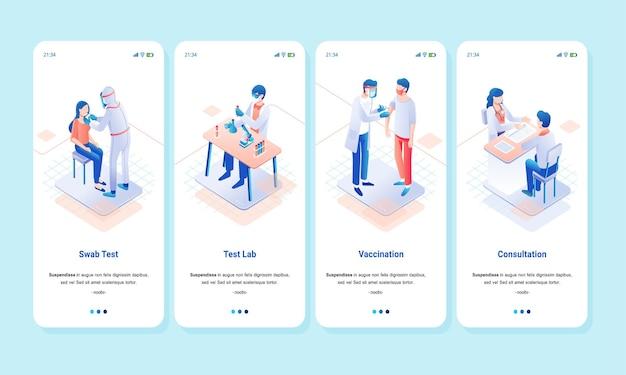 Изометрический набор иллюстраций для лабораторных мазков, вакцинации и консультаций по вопросам здоровья