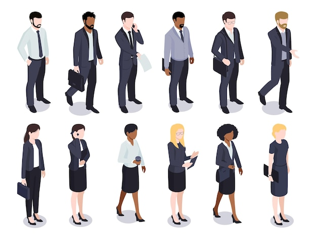 Isometric set of isolated businessmen businesswomen male and female faceless characters wearing costumes on white
