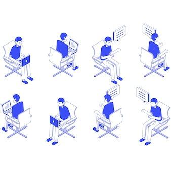 Isometric set male office sit