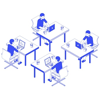Isometric set male working desk