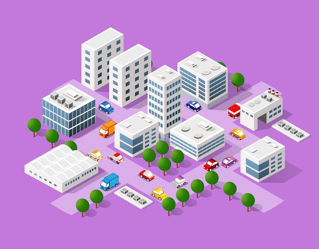 Isometric set of the modern city