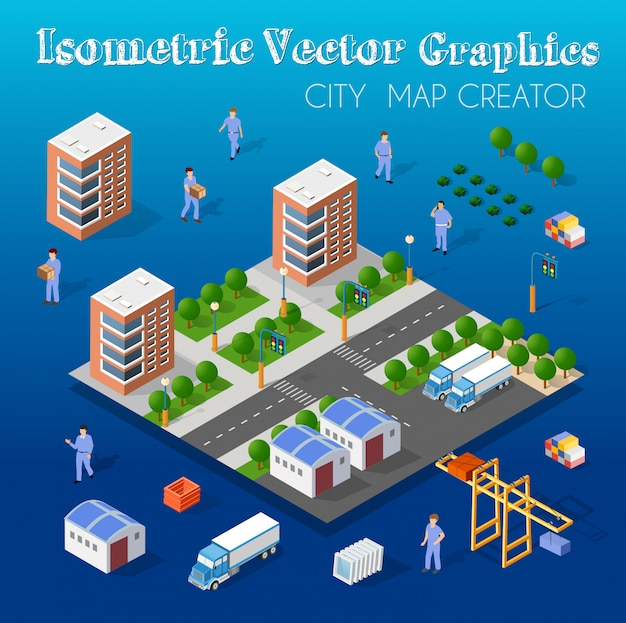 Isometric set module city