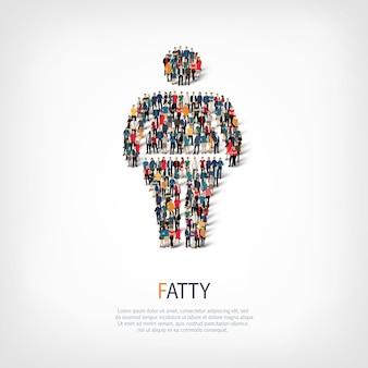 지방, 뚱뚱한 남자, 붐비는 광장의 웹 인포 그래픽 개념의 아이소 메트릭 세트