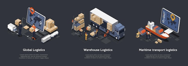 글로벌 물류, 창고 물류, 해상 운송 물류의 아이소 메트릭 세트. 많은 수의화물을 분류하고 운반하도록 설계된 정시 배송.