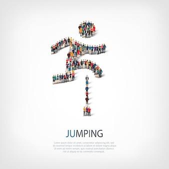 점프, 남자, 붐비는 광장의 웹 인포 그래픽 개념의 아이소 메트릭 세트