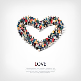 愛、混雑した正方形のwebインフォグラフィックの概念図の等尺性セット。所定の形状を形成する群集群。クリエイティブな人々。