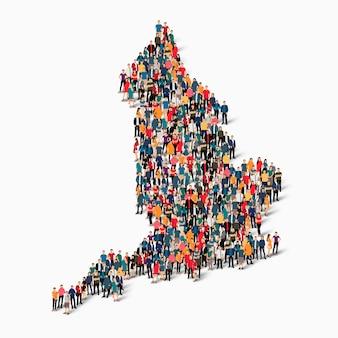 イギリスの地図を形成する人々の等尺性セット