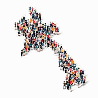 Изометрические набор людей, образующих карту лаоса