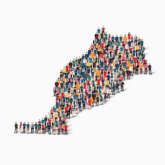 Изометрические набор людей, образующих карту марокко, страны, концепция веб-инфографики переполненного пространства, плоские 3d. группа точек толпы, образующая заданную форму.