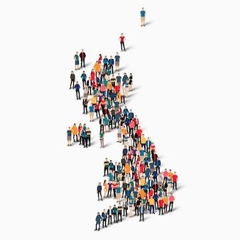 Изометрические набор людей, образующих карту соединенного королевства, страны, веб-инфографики, концепции переполненного пространства, плоских 3d. группа точек толпы, образующая заданную форму.