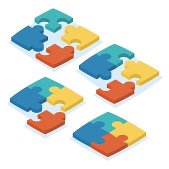 接続のさまざまなバリエーションのパズルの等尺性セット。