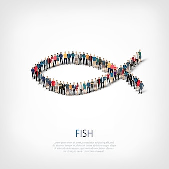 스타일 추상, 물고기, 붐비는 광장의 웹 인포 그래픽 개념의 아이소 메트릭 세트