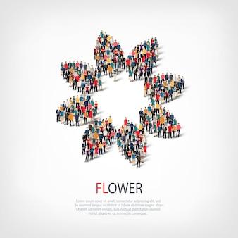 붐비는 광장의 스타일 추상적 인 기호 꽃 웹 인포 그래픽 개념의 아이소 메트릭 세트