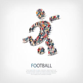 붐비는 광장의 스타일 추상적 인 기호 축구 웹 인포 그래픽 개념의 아이소 메트릭 세트
