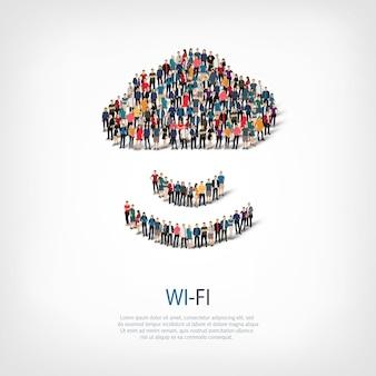 混雑した広場の抽象的なスタイル、wi-fi、シンボルウェブインフォグラフィックの概念の等尺性のセット