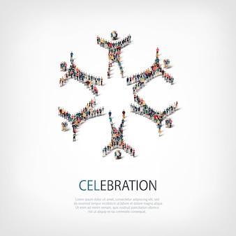 스타일, 축하 기호, 붐비는 광장의 웹 인포 그래픽 개념 그림의 아이소 메트릭 세트. 미리 정해진 모양을 형성하는 군중 포인트 그룹. 창의적인 사람들.