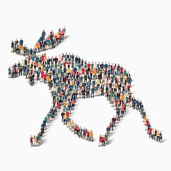 混雑した広場のスタイルエルク、野生動物、ウェブインフォグラフィックの概念の等尺性のセット