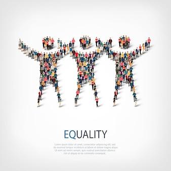 스타일, 평등 기호, 붐비는 광장의 웹 인포 그래픽 개념 그림의 아이소 메트릭 세트. 미리 정해진 모양을 형성하는 군중 포인트 그룹. 창의적인 사람들.