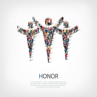 等尺性スタイルのセット、名誉、混雑した広場のwebインフォグラフィックの概念図。所定の形状を形成する群集群。クリエイティブな人々。