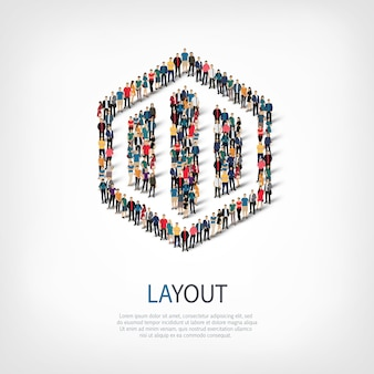 스타일, 레이아웃, 붐비는 광장의 웹 인포 그래픽 개념 그림의 아이소 메트릭 세트, 평면 3d. 미리 정해진 모양을 형성하는 군중 포인트 그룹.