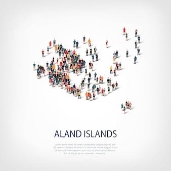 スタイル、人々、オーランド諸島の地図、国、混雑したスペースのwebインフォグラフィックコンセプトの等尺性セット。所定の形状を形成する群集群。クリエイティブな人々。