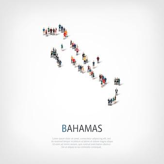 スタイル、人々、バハマの地図、国、混雑したスペースのwebインフォグラフィックコンセプトの等尺性セット。所定の形状を形成する群集群。クリエイティブな人々。