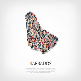 スタイル、人々、バルバドスの地図、国、混雑したスペースのwebインフォグラフィックコンセプトの等尺性セット。所定の形状を形成する群集群。クリエイティブな人々。