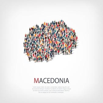 Изометрические набор стилей, людей, карта македонии, страны, концепция веб-инфографики переполненного пространства. группа точек толпы, образующая заданную форму. творческие люди.