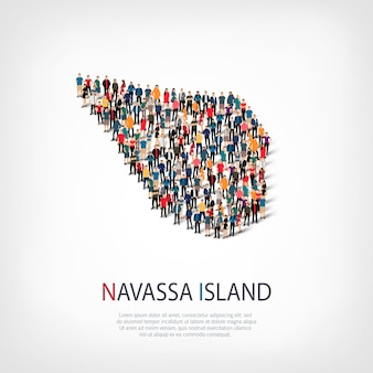 스타일, 사람, navassa 섬의지도, 국가, 붐비는 공간의 웹 인포 그래픽 개념의 아이소 메트릭 세트. 미리 정해진 모양을 형성하는 군중 포인트 그룹. 창의적인 사람들.