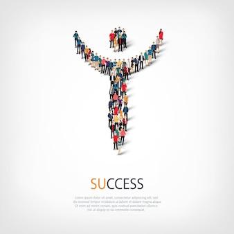 스타일, succes, 붐비는 광장의 웹 인포 그래픽 개념 그림의 아이소 메트릭 세트. 미리 정해진 모양을 형성하는 군중 포인트 그룹. 창의적인 사람들.