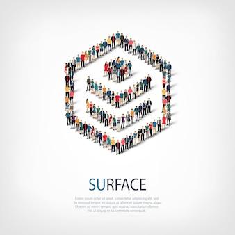 混雑した正方形のスタイル、表面、webインフォグラフィックの概念図の等尺性セット。所定の形状を形成する群集群。クリエイティブな人々。