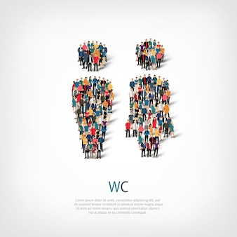 混雑した正方形のスタイル、トイレ、webインフォグラフィックの概念図の等尺性セット。所定の形状を形成する群集群。クリエイティブな人々。