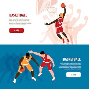 경기 중 농구 선수와 두 개의 수평 배너의 아이소 메트릭 세트