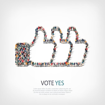 投票の等尺性セットはい、混雑した広場のウェブインフォグラフィックの概念