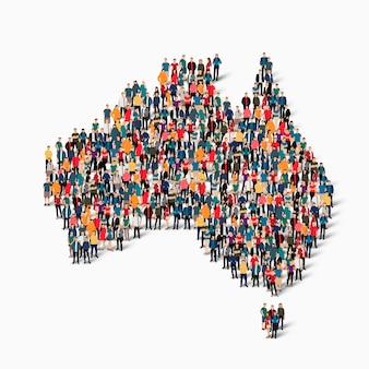 Isometric set of people forming map of australia