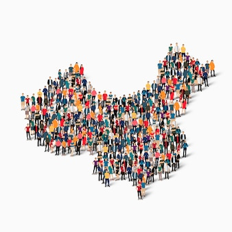 Isometric set of people forming map of china