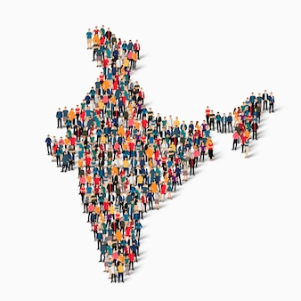 Isometric set of people forming map of india