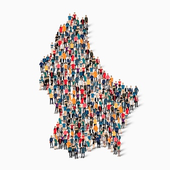 Isometric set of people forming map of luxembourg , country, web infographics concept of crowded space, flat 3d. crowd point group forming a predetermined shape.