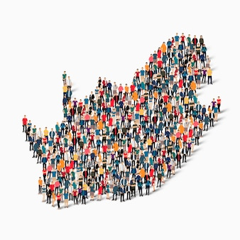 Isometric set of people forming map of south africa , country, web infographics concept of crowded space, flat 3d. crowd point group forming a predetermined shape.