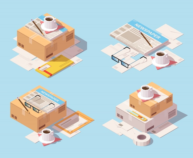 Isometric set of postal delivery icon