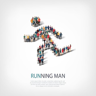 Isometric set of running man, sports, web infographics concept of a crowded square