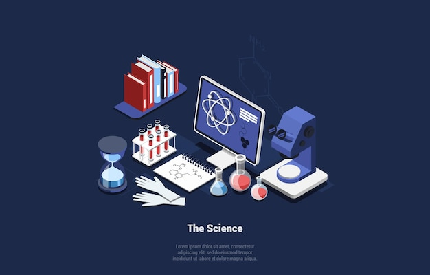 Isometric set of science related items on blue dark