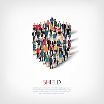 Isometric set of shield web infographics concept of a crowded square