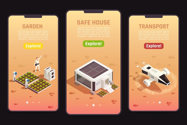 Isometric set of space colonization banner templates