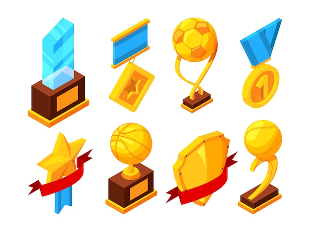 Isometric set of sport trophy
