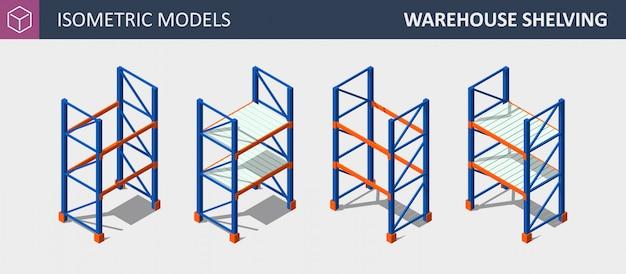 Isometric set of storage shalving or rack.