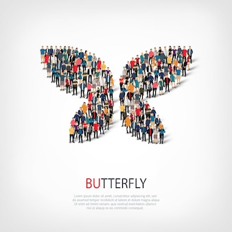 Isometric set of styles abstract symbol , butterfly ,web infographics concept of a crowded square