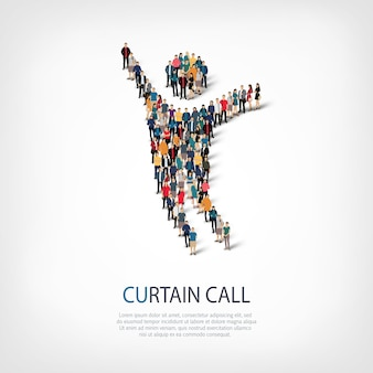 Isometric set of styles abstract symbol , curtain call ,web infographics concept of a crowded square
